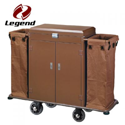 2 durable bags stainless steel housekeeping trolley,Hotel Restaurant Supply,Housekeeping Carts & Hospitality Carts,Housekeeping Maid,Powered Housekeeping Cart