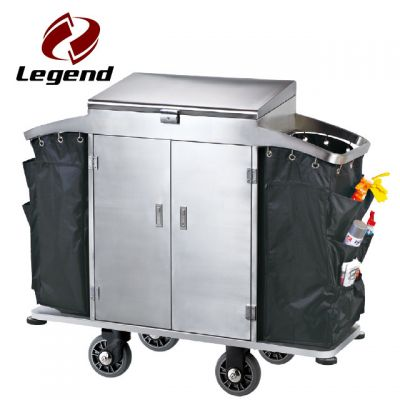 2 durable bags stainless steel housekeeping trolley,Equipment Housekeeping Carts,Hotel Restaurant Supply,Housekeeping Carts & Hospitality Carts,Janitorial & Cleaning Carts